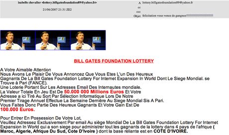 arnaque bill gates foundation lottery
